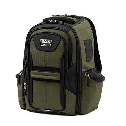 Travelpro Bold Computer Backpack With Laptop And Tablet Sleeves, Olive/Black