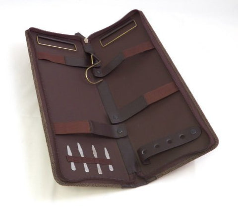 Bey Berk Travel Tie Case with Collar Stays Brown Leather