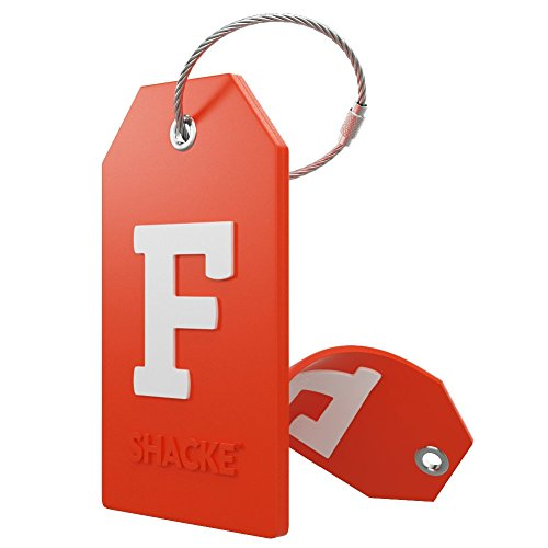 Initial Luggage Tag with Full Privacy Cover and Stainless Steel Loop - (Letter F)