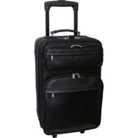 "AmeriLeather Leather 22"" Expandable Carry On Pullman (Black)"
