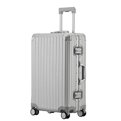 All Aluminum Hard Shell Luggage Hardside Suitcase With Spinner Wheels By Sindermore (Carbon Fiber Silver, 29 inch)