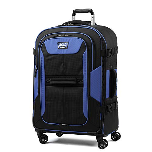 "Travelpro Bold 26"" Expandable Checked Luggage Spinner, Lightweight, Rugged, Blue/Black"