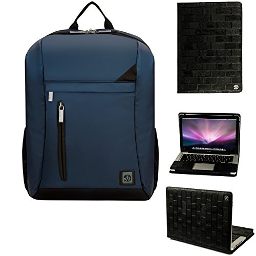 Vangoddy Executive Black Folio + Navy Blue Backpack For Macbook Pro 13Inch (2012-Early 2016)