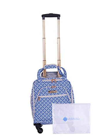 "Jenni Chan Colima 2-Piece Set 15"" Spinner 311 Bag Travel Tote, Blue, One Size"