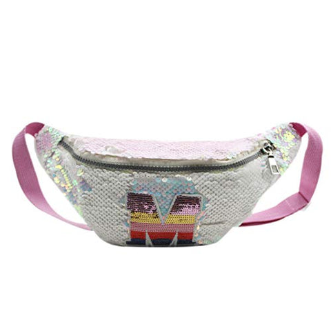 Aibearty Kids Glitter Reversible Sequin Fanny Pack Letter Print Waist Bag