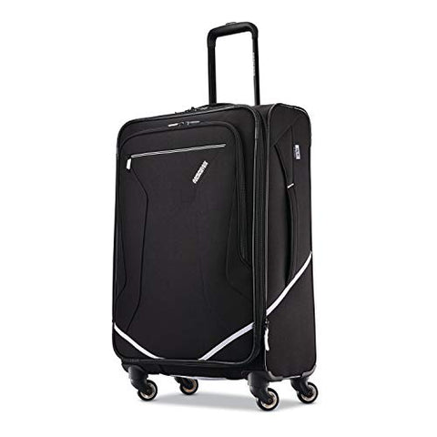 American Tourister Re-Flexx Expandable Softside Checked Luggage With Spinner Wheels, Black/White
