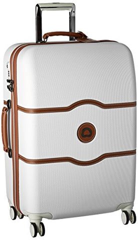 DELSEY Paris Luggage Chatelet Hard+ Medium Checked Spinner Suitcase Hardside with Lock, Champagne