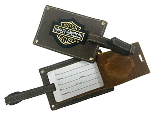 Harley-Davidson Bar & Shield Belted Luggage Tags, Brown Leather 99301-Brown