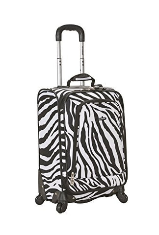 Rockland Luggage 20 Inch Printed Spinner Carry On, Zebra, Medium