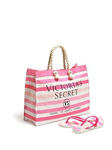 Victoria'S Secret Striped Canvas Tote & Flip-Flops (Small (5/6))