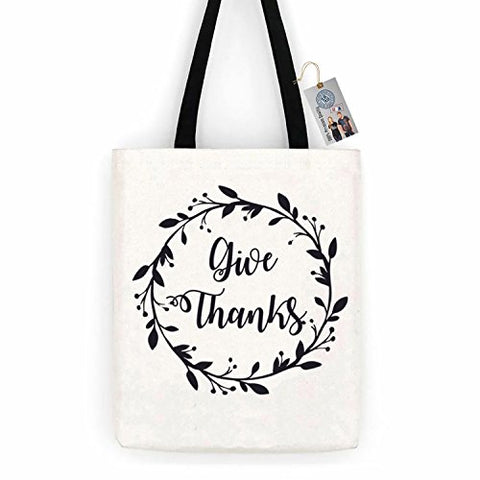 Thankful Give Thanks Thanksgiving Cotton Canvas Tote Bag Day Trip Bag Carry All