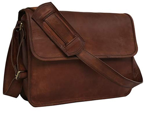 15 Inch Half Flap Leather Messenger Bag for Work, Laptop Shoulder Bag, New Job Gifts for Men and