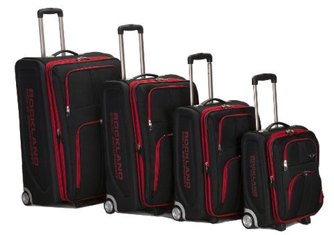 Rockland Luggage Varsity Polo Equipment 4 Piece Luggage Set, Black, One Size