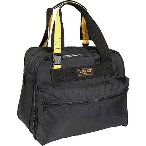 A.Saks Deluxe Expandable Nylon Shoulder Tote in Black