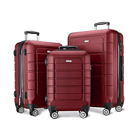 SHOWKOO Luggage Sets Expandable Suitcase Double Wheels TSA Lock Red Wine