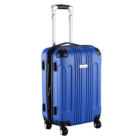 "GHP BLue 14""Wx10""Thickx20""H 4-Wheel Spinner Lightweight Expandable Trolley Suitcase"