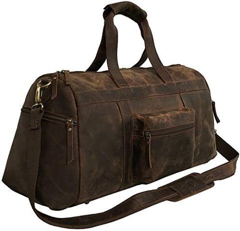 21 inch eather Duffel | Travel Overnight Weekend Leather Bag | Sports Gym Duffel for Men