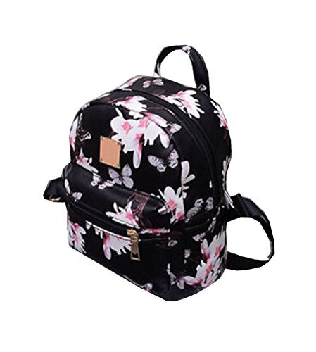 Women Girls Mini Backpack Causal Floral Printing Leather Bag (Black)