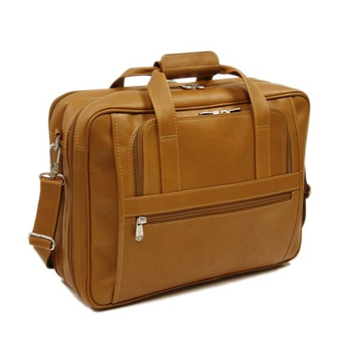Piel Leather Large Ultra Compact Computer Bag, Saddle, One Size