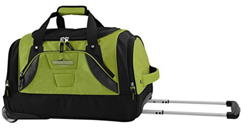 "TPRC 21"" ""Adventure"" Rolling Duffel Constructed with Honeycomb Designed RIP-STOP Material Includes Dual Side Pockets and Front Accessory Pocket, Green Color Option"