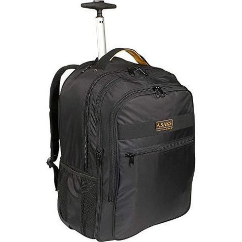 A.Saks Deluxe Expandable Wheeled Nylon Computer Backpack in Black