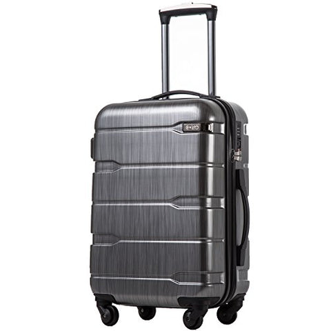 Coolife Luggage Expandable Suitcase Pc+Abs Spinner 20In 24In 28In Carry On (Charcoal., S(20In).)