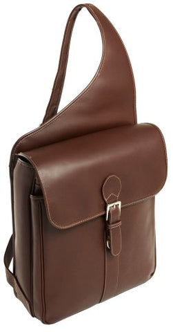 Siamod Sabotino 25414 Cognac Leather Vertical Messenger Bag