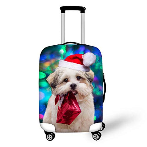 Bigcardesigns Chriatmas Red Luggage Covers Animal Dog Designs Spandex Elestric Zipper Covers Size S