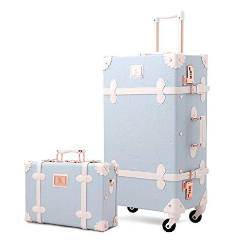 Unitravel Vintage Suitcase Set Rolling PU Trunk Luggage with Train Case (Blue, 24inch+12inch)
