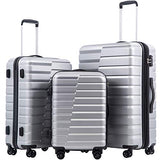 COOLIFE Luggage Expandable Suitcase PC+ABS 3 Piece Set with TSA Lock Spinner Carry on new fashion design (sliver, 3 piece set)