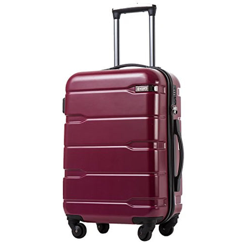 "COOLIFE Luggage Expandable(only 28"") Suitcase PC+ABS Spinner Built-in TSA Lock 20in 24in 28in Carry on (Radiant Pink, S(20in_Carry on))"