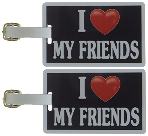 Tag Crazy I Heart My Friends Two Pack, Black/White/Red, One Size