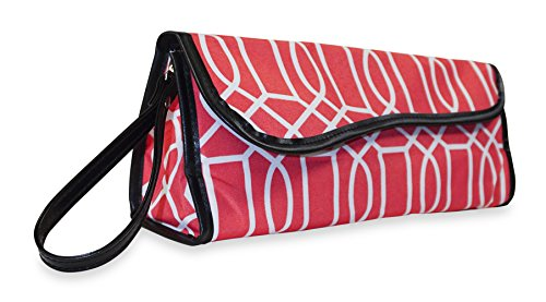 Ever Moda Geometric Flat Iron Travel Case (Coral Pink)