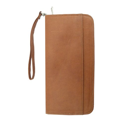 Piel Leather Zippered Passport Ticket Holder, Saddle, One Size