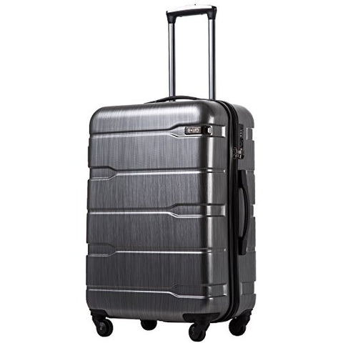 "Coolife Luggage Expandable(only 28"") Suitcase PC+ABS Spinner Built-In TSA lock 20in 24in 28in Carry on (Charcoal, M(24in).)"