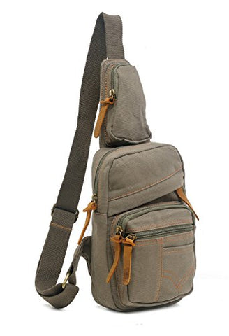 New Men's Cotton Canvas Chest Bag Purse Sling Bag Fashion Small Backpack (army green)