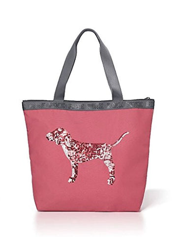 Victorias Secret Pink Begonia Bling Sequin Dog Zip Top Tote