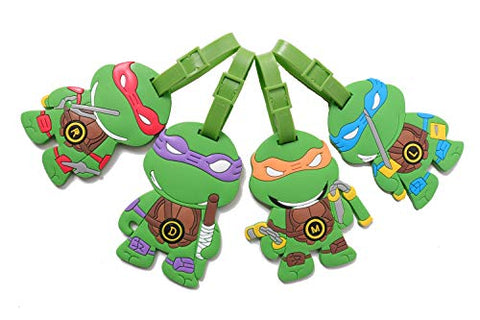 Set of 4 - Super Cute Kawaii Cartoon Silicone Travel Luggage ID Tag for Bags (Ninja Turtles 4)