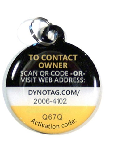 Dynotag Web/GPS Enabled QR Smart Deluxe Steel Property Tag w. Steel Ring