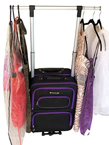 "The Dance Angel Suitcase Carry-On Purple and Black""Purple Reign"" (Rolling Dance Bag With Costume"