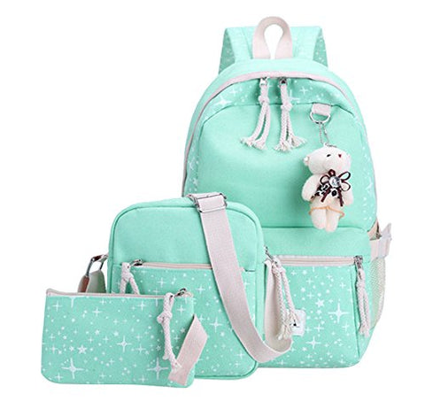 Fanci 3Pcs Stars Prints Canvas Elementary School Rucksack Backpack Set for Girls Women Casual