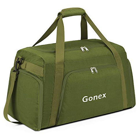 Gonex 60L Travel Duffle Bag, Weekender Overnight Duffel Bag with Shoe Compartment Army Green