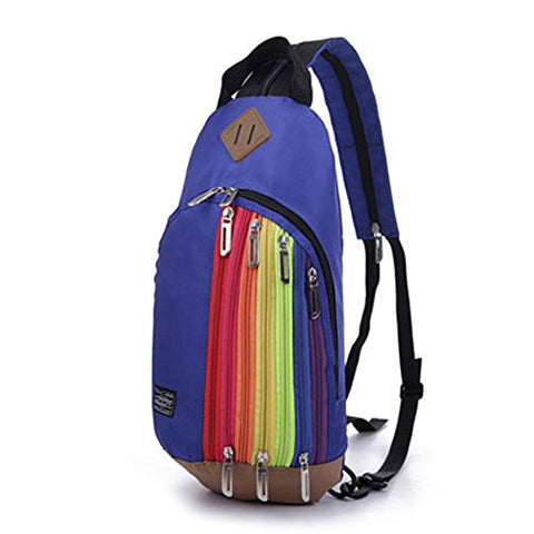 Bibitime Dark Blue Rainbow Style Nylon Outdoor Travel Chest Bag Sling Crossbody Messenger Bags