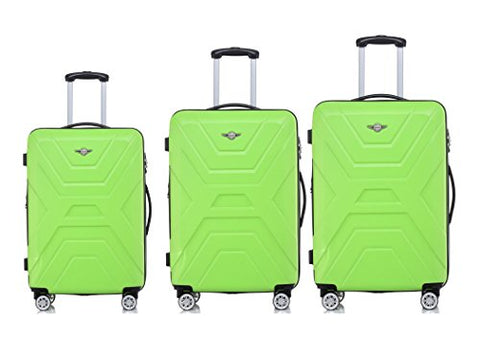 "Rivolite New 3 Piece Lightweight Luggage Set:20"", 26"", 29"" ABS Large Suitcase Sale(Green)"
