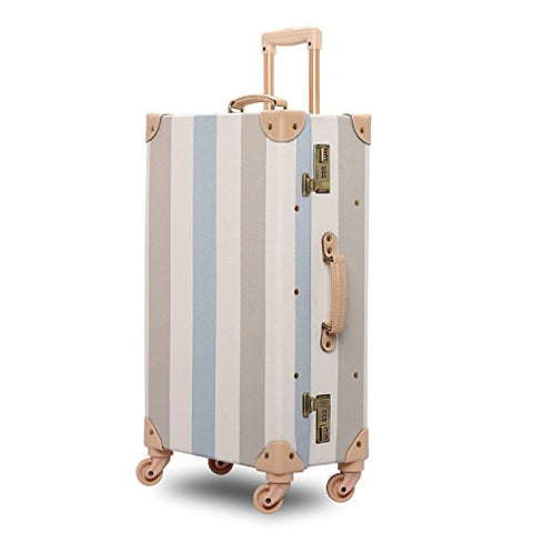 Unitravel Hardside Travel Luggage Vintage Floral Suitcase Stripe Spinner Wheels