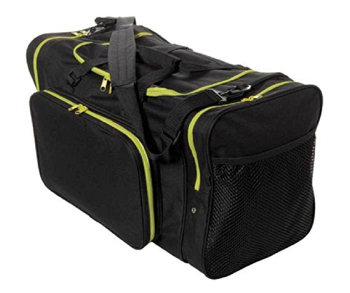 "Sassi Designs TEAM Black 24"" Duffel Bag with Yellow Zipper Trim"