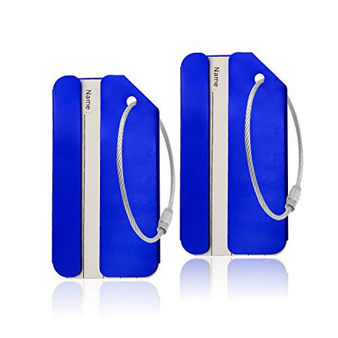 Aluminum Luggage Tag for Luggage Baggage Travel Identifier By CPACC (Blue 2PCS)