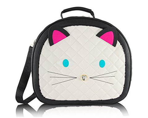 Betsey Johnson Cat Train Carry-On Round Weekender Suitcase - Cream Face