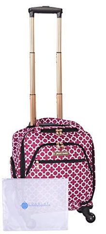 "Jenni Chan Medley 2-Piece Set 15"" Spinner 311 Bag Travel Tote, Cranberry, One Size"