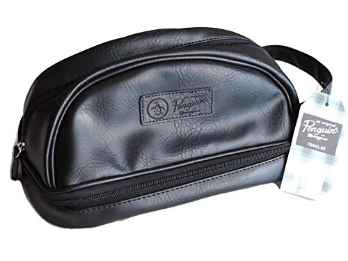 Penguin Men's Black Water Resistant Toiletry Travel Dopp Shave Kit Case Bag NWT